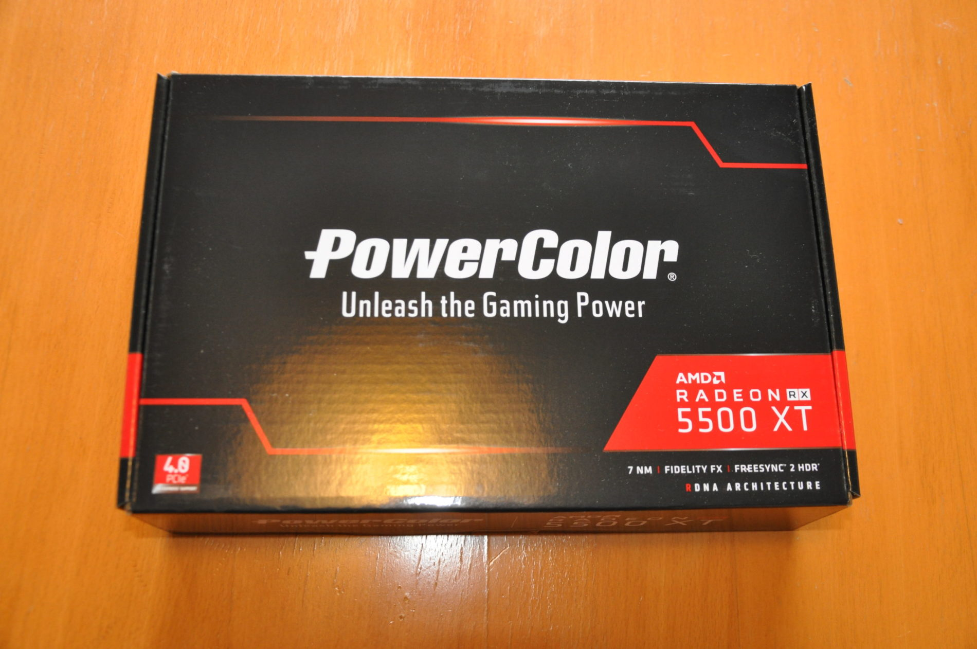 AMD Powercolor Radeon 5500XT 4GB Graphics card package.